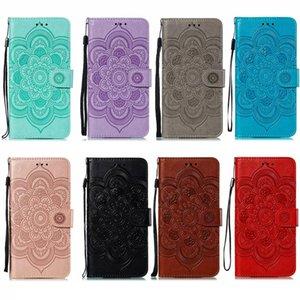 Cgjxs für Samsung Galaxy S20 Ultra-S20 A51 A71 note10 Pro Sunflower Datura Impressum Mappen-Leder-Kasten-Blumen-Mandala-Halter-Schlitz-Spitze-Flip