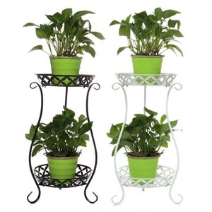 Bar Iron Garden Pot For Plant Double-layer Flower Living Indoor Rack Coffee Flower Balcony Wrought Simple Shelf Stand Room Shelf pp2006 pwP