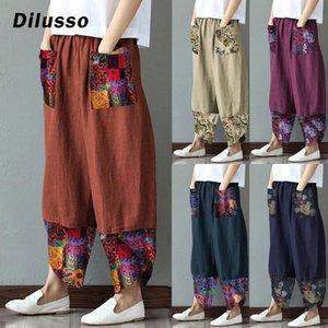 Vintage Printed Harem Pants Women Trousers Casual Elastic Waist Cotton Linen Wide Leg Pants Loose Summer Plus Size Pant#D3