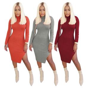 Tortue cou sexy Robes Femmes Designer manches longues de Split Night Club Vêtements automne femmes élégantes robes moulantes