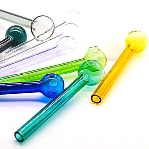 Tubos de cristal DHL quemador de aceite Tubo Mini cuchara mano de colores Pequeño Quemador de aceite Pyrex de vidrio tubo recto Tubos de color fumadores