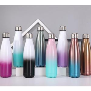 Gradient Wasserflasche Doppelschalig Insulated Thermos Bunte Cola Shaped Wasserflaschen Edelstahl Cola Flaschen AHD803