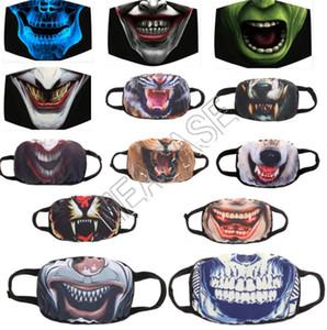 Scary Halloween de la mascarilla del cráneo de expresión Máscaras Moda cara mascarilla adultos vampiro Máscaras boca cubierta lavable reutilizable afrontar nuevos D81302