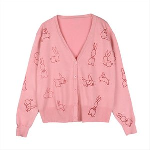 women sweater knitted long sleeve pink black khaki thin cardigans V neck autumn rabbit bunny M0138