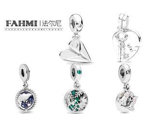 FAHMI 100% 925 Sterling Silver Key Guardian of Travel Friends Plane Hanging Globe Binoculars Free Shipping