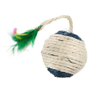 Pet Cat Kitten Toy Rolling Sisal Scratching ball Funny Cat Kitten Play Dolls Tumbler Ball Pet Toys Interactive Feather Toy