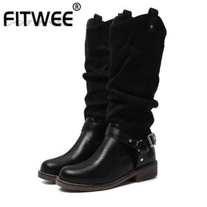 FITWEE Size 34-48 Sexy Women Fashion Winter Rivets Mid Calf Boots Office Ladies Work Club Outdoor Black Shoes Woman Footwear