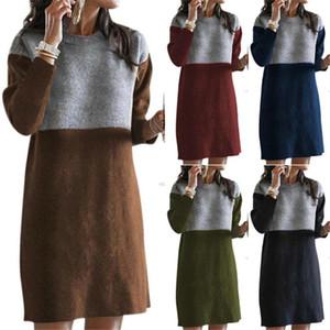 Inverno mulheres vestidos O Long Neck Sleeve Patchwork Sweater Dress Casual solta Vestido Plus Size Ladies