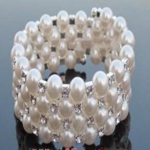 5pcs Four Rows Diamond Bracelet Surrounded Adjustable Of Pearl Jewelry Fashion beauty888 CeMdP
