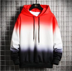 Spring Sports Males Clothing Fashion Cradient Color Loose Male Hoodies Designer Long Sleeve Teenager Sweatshirts Casual