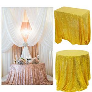 Tablecloth Yemek Yuvarlak / Dikdörtgen Pullu Masa Örtüsü Glitter Masa Örtüsü için Düğün Dekorasyon Parti Ziyafet Ev Dekorasyonu Ev