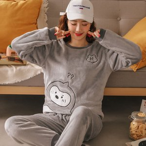 Coral Fleece Pajamas Womens Suit Autumn and Winter Warm Cute Student Thick Flannel Can Be Worn outside Leisure Tops Winter