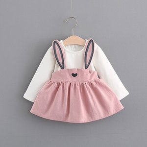 0-3 Years Old Autumn Baby Kids Toddler Girl Cute Rabbit Bandage Suit Mini Dress Pullover Dress 827
