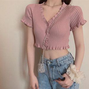 1xb5R dolce e floreale rosa rivestimento lavorato a maglia 2020 giacca corta estate nuovo V-collo sexy short top T-shirt tutto-fiammifero delle donne di cardigan