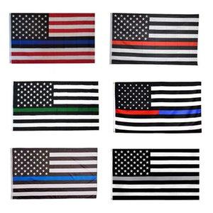 90 * 150cm Blue Line Black Flag americano Polícia Stripe Flags listrado vermelho da bandeira dos EUA com a estrela da bandeira Bandeiras DHB1566