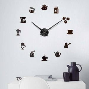 Large 3D Wall Clock Acrylic Coffee Cup Mirror Surface Sticker Clock Home Living Room DIY Decor Art Mural Decals Wall J50