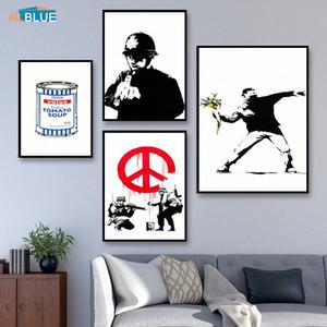 Canvas 인쇄 뱅크시 포스터와 인쇄 벽 아트 장식 그림 벽 그림 북유럽를 들어 거실 추상 홈 인테리어 jILz 번호