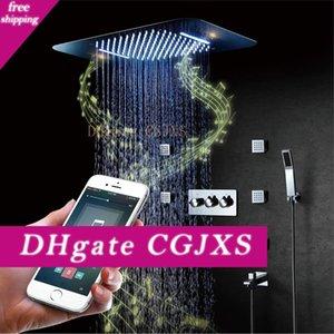Bluetooth Müzik Led Duş Başlığı Şelale Yağmur Duş Banyo Duş Musluklar Karıştırıcı Masaj 304 Sus Yağışı Big Water 580 * 380mm