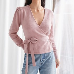 Fashion Warpped Women's Knitted Sweater Simple Slim Waist Lace-up Lady Long Sleeve V-neck Cardigan Knitwear Top 2020 Early Autum