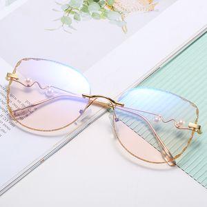 Корейский 2020 плоские линзы мода женские солнцезащитные очки анти синий близорукость ультра свет очковая оправа личности золотой край моды Оправа