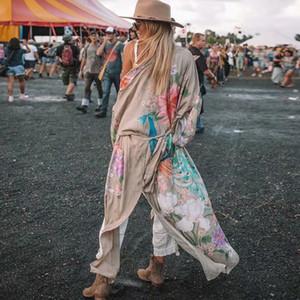 AYUALIN рукава халата Кафтан Хаки цветочный принт BOHO кардиган сексуальная сторона Щели Gypsy пляж лето женщин блузок blusas CX200819
