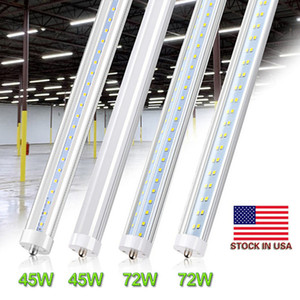 Double Row LED Tubes T8 8ft Single Pin FA8 45W LED Tube Light 8 ft 8feet 100LM W Fluorescent Bulb Stock In US