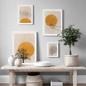 Nordic Простые Canvas Art Тысяча Птиц Аннотация Стеновые Картины Животные Плакаты Дерево и печать Scandinavian Art Home Decor