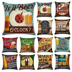 Em Beer Bottle fronha Estilo Retro britânico fronha Single-sided Imprimir 45 * 45 centímetros fronha Home Bar Decoração BH3179 T