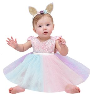 Toddler Princess Sequin Newborn Baby Girls Fluffy Rainbow Tutu Dress with Headband Kid Birthday Party Cake Outfits