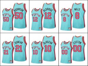 San AntonioSpursDavid Robinson DeMar DeRozan Tim Duncan Patty MillsNBA 2020 neu laden HolzClassics Custom Blau Jersey