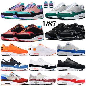 cuscino Classic 1 87 hanno un giorno capsula del pacchetto tempo uomini donne scarpe da ginnastica CNY anniversario aqua Tinker in esecuzione Black Women Sneakers Trainers