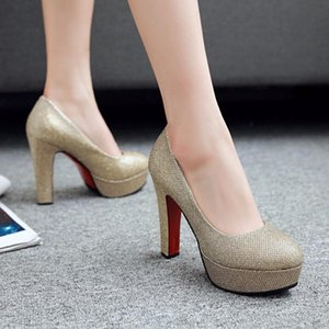 ZOGEER Classic High Heel Platform Women Pumps Shoes Fashion Sequined Pink Gold Silver Heels Wedding Party Office Shoes Woman