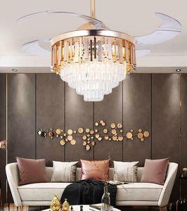 2020 Ceiling Fan Light Living Room Atmosphere Light Luxury Post-modern Home LED Crystal Lamp