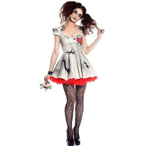 White Color A Line Dress Women Cosplay Clothing Halloween Vampire Bride Costume Dresses Sexy Backless Short Sleeve
