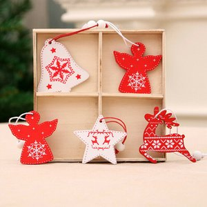 12pcs Jingle Bell  Snowman Deer Star Wooden Christmas Pendants Ornaments Mixed Assorted for Christmas Tree Hanging Gifts Decor