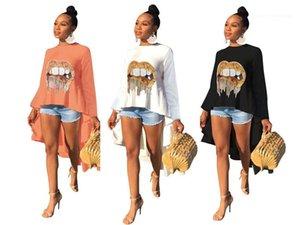 Женская повседневная Вершины Womens Дизайнер Блестки Tshirts Мода Губы Pattern Длинные рукава Hi Lo тройники