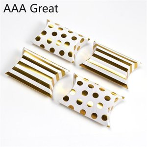 50Pcs Lot Pillow Box Chocolate Candy Cookie Wedding Party Baby Paper Favor Gifts Packaging Boxes Dots Striped Christmas Present