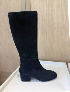 Higher version Classic Cashmere fabric ankle boot with Chunky heel knee boots for women fashion black boots Size 34-41