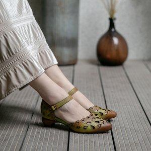 Tayunxing handgemachte Schuhe aus echtem Leder Frühling Sommer Mitte Ferse nahe Zehefrauen weibliche Komfort Band Knöchel Sandalen 3368-076