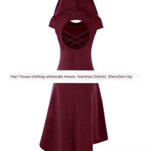 R6B2c düzensiz içi boş alt düzensiz kapüşonlu orta boy elbise Geri oyuk elbise Geri kapüşonlu orta boy uzun uzun etek altını etek