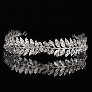 Einzigartiges Blatt Haarband für Frauen Metall Strass Prinzessin Königin-Kronen-Hochzeit Kopfschmuck Braut Haarschmuck