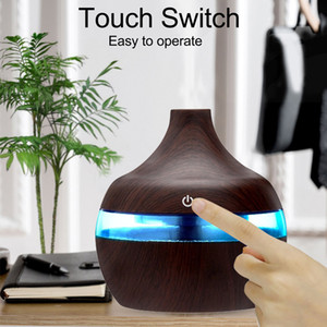 Electric Humidifier Aroma Essential Oil Diffuser Ultrasonic Wood Grain Air Humidifier USB Mini Mist Maker LED Light For Home Office AAB1200