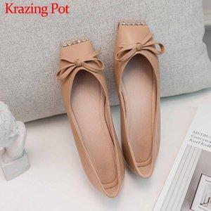 Krazing pot sucré bowtie cristal clouté doux cuir véritable cuir femme chaussures chaussures carrées orteil féminin féminin slip sur plat avec chaussures l16