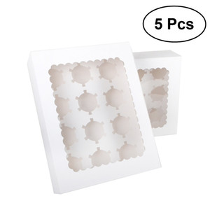 5pcs 12 Cavity Portable Cardboard Cupcake Boxes And Packaging Cup Cake Box With Window Container Muffin Box With Insert (White) T200827
