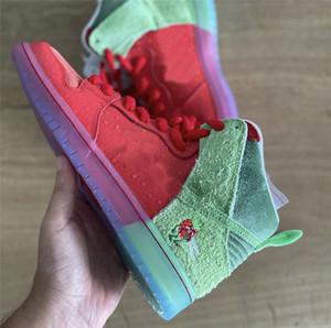 2020 authentique Dunk SB Haute Strawberry Cough Todd Bratrud Université Rouge Épinards Magic Green Ember Hommes Chaussures de basket-Sneakers avec la boîte