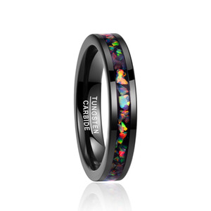 Brand Designer Nuncad New 4MM Wide Inlaid Opal Black Wedding Rings Tungsten Carbide Ring Men T091R