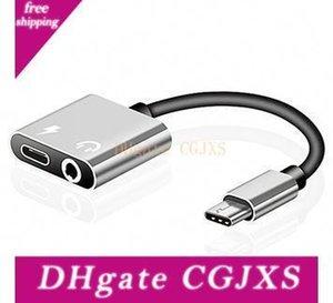 2 in 1 Tipo C Aux Audio Adapter cavo USB Type C a 3 0,5 millimetri Jack per cuffie carica adattatore di carico per Samsung Smart Phone 300pcs / Lot
