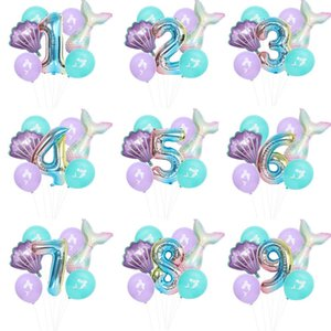 7 PC / Los Mermaid-Geburtstags-Party-Ballon-Zahl-Ballon-Dekor 0-9 Aluminium Foil-Geburtstags-Party-Ballon-Supplies GWC989
