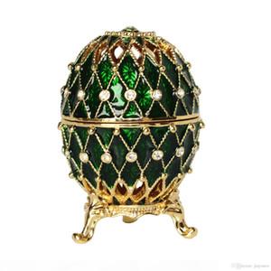 Grille Fabergé Egg Cristal Bejeweled Trinket Boîte à bijoux boucle d'oreille en étain Porte-cadeau Ornement
