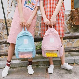 Frauen-Segeltuch-Gelb-Ente Rucksack Schüler Koreanisch 4 Farbe klar Pig Schulranzen Female Transparent Zipper Brief-Karikatur-Rucksack
